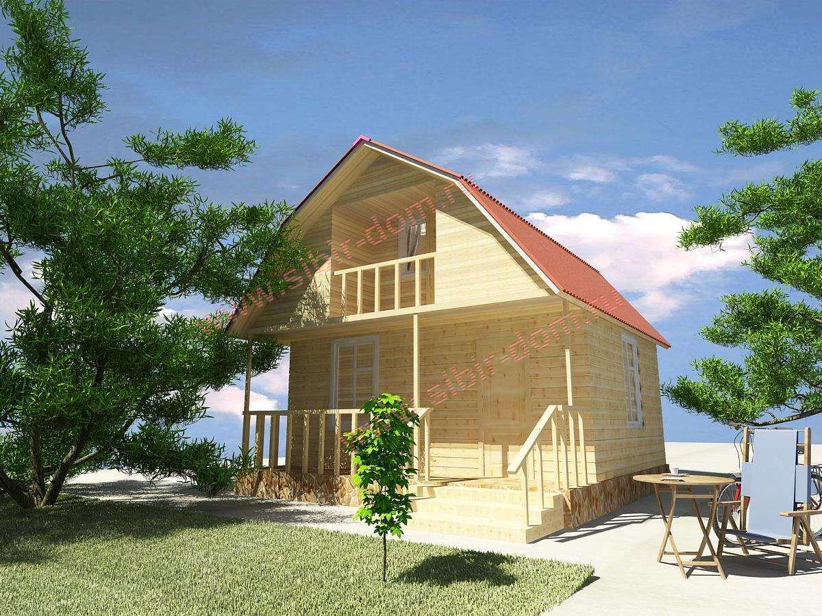 Проект д-10 дом 6х6 с балконом и террасой 60м2- компания.