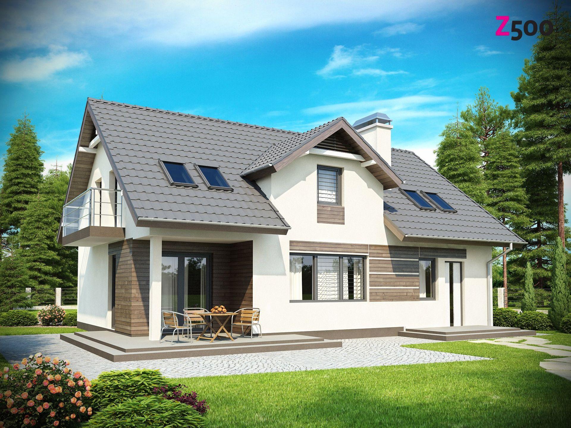 Проект сп 172 - дом со встроенным гаражом, двускатной крышей.